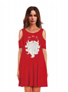 3D Printed Crew Neck Red Cold Shoulder Shift Dress