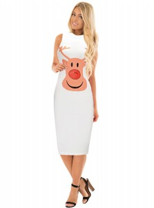 Reindeer Printed Knee-Length White Christmas Bodycon Dress