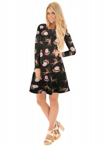 A-Line Santa Printed Long Sleeves Black Christmas Dress