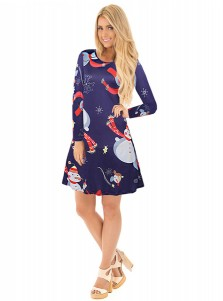 A-Line Crew Neck Snowmen Short Blue Christmas Dress