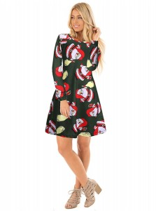 A-Line Crew Neck Santa Printed Green Christmas Dress