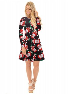 A-Line Crew Neck Santa Printed Black Christmas Dress
