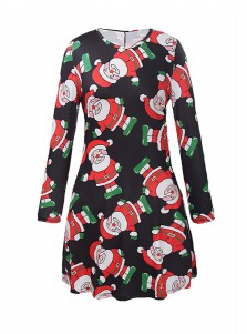 A-Line Crew Neck Long Sleeves Santa Black Dress