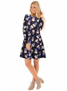 A-Line Crew Neck Long Sleeves Santa Dark Blue Dress