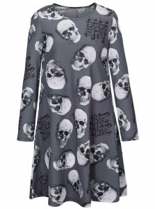 A-Line Crew Neck Long Sleeves Gray Skull Dress