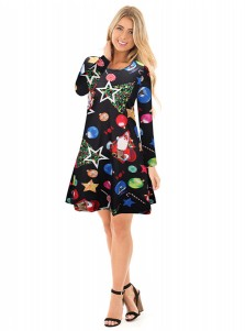 A-Line Crew Neck Long Sleeves Black Ornament Dress