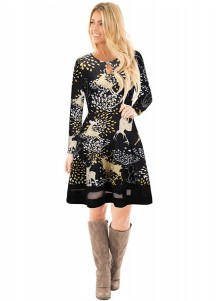 A-Line Crew Neck Reindeer Printed Black Christmas Dress