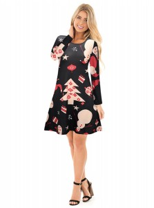 A-Line Crew Neck Long Sleeves Black Dress