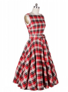 A-Line Bateau Red Plain Cotton Vintage Dress