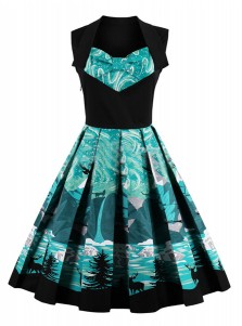 A-Line Square Neck Printed Green Vintage Dress
