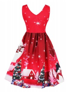 A-Line V-Neck Christmas Tree Printed Vintage Dress