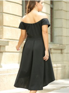 High Low Off the Shoulder Plus Size Black Dress