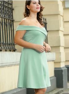 A-Line Off the Shoulder Plus Size Mint Green Dress