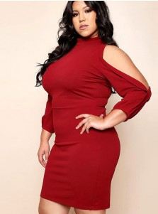 Cold Shoulder 3/4 Sleeves Plus Size Burgundy Dress