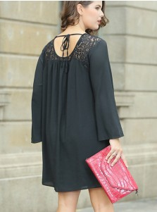 Long Sleeves Lace Plus Size Black Chiffon Shift Dress