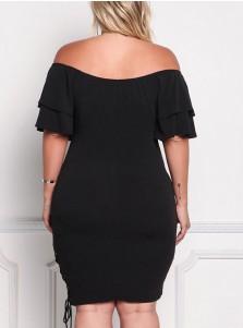 Off the Shoulder Lace-Up Plus Size Black Bodycon Dress