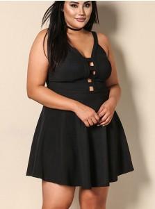 Hollow Out Spaghetti Straps Plus Size Black Dress