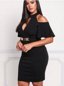 Cold Shoulder Keyhole Plus Size Bodycon Black Dress