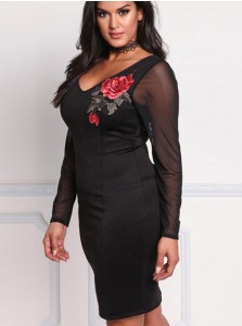 V-Neck Long Sleeve Appliques Plus Size Black Bodycon Dress
