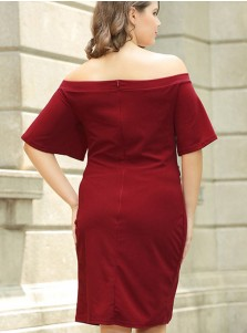 Asymmetrical Off the Shoulder Plus Size Burgundy Dress
