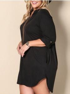 Asymmetrical V-Neck 3/4 Sleeves Plus Size Black Dress