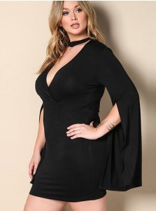 Asymmetrical Deep V-Neck Plus Size Black Cape Dress
