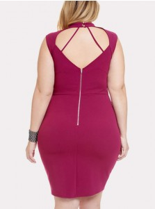Asymmetrical Keyhole Plus Size Fuchsia Bodycon Dress