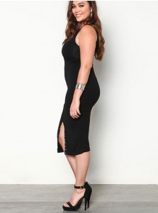 Button Front Round Neck Mid-Calf Plus Size Black Dress