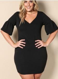 Fuchisa Round Neck Short Sleeve Plus Size Dress