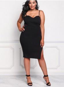 Bodycon Spaghetti Straps Plus Size Black Dress