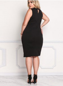 Choker Neck Sleeveless Bodycon Plus Size Black Dress
