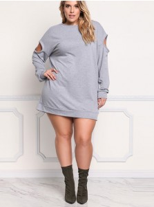 Keyhole Long Sleeve Plus Size Grey Sweatshirt Dress