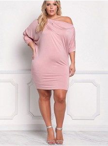Oblique Neck Zip 3/4 Sleeves Plus Size Pink Dress