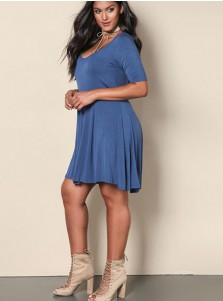 Short Sleeves Round Neck A-Line Plus Size Dark Blue Dress