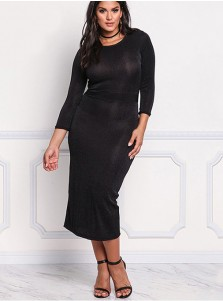 Tea-Length 3/4 Sleeves Round Neck Plus Size Black Dress