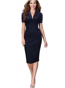 Navy Blue V-Neck Short Sleeves Bodycon Party Dress
