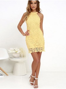 Round Neck Yellow Lace Bodycon Party Dress