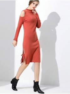 Cold Shoulder Long Sleeve Lace-Up Bodycon Dress