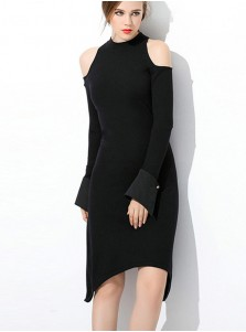 Cold Shoulder Asymmetry Black Bodycon Party Dress