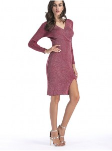 Plunging Neck Split Front Burgundy Bodycon Dress