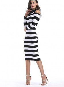 High Neck Cold Shoulder Keyhole Stripe Bodycon Dress