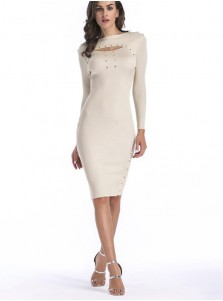 Bateau Keyhole Rivet Long Sleeves Bodycon Dress