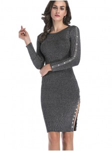 Round Neck Long Sleeves Button Grey Bodycon Dress