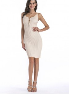 Scoop Lace-Up Front Cami Bodycon Dress