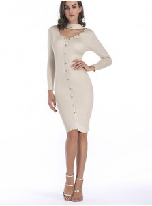 Choker Neck Long Sleeves Rivet Bodycon Dress