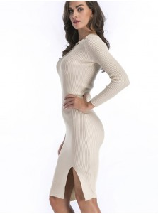 Bateau Long Sleeves Rivet Bodycon Sweater Dress