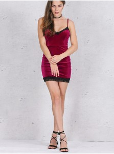 Burgundy Cami Velvet Bodycon Dress with Lace