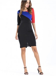 Half Sleeves Color Block Bodycon Dress