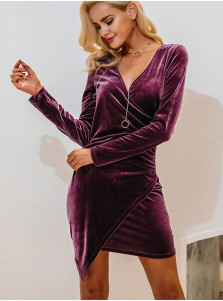 Plunging Neck Asymmetry Velvet Bodycon Dress