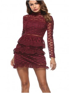 High Neck Long Sleeves Burgundy Lace Tiered Bodycon Dress